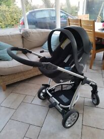Mamas and Papas Sola Pushchair with Car Seat, Rain Cover, Parasol and Foot Muff.