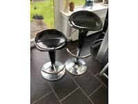 4 Black Gloss and Chrome Gas Lift Stools - Excellent Condition