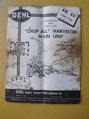 Gehl Chop All Harvester Main Unit Instruction Parts List Tractor Knife Grinder