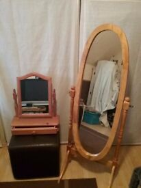 Pine dressing table mirror and drawer