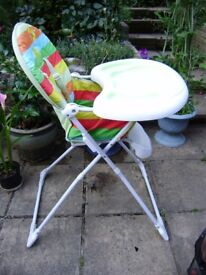 High chair by Mothercare, VGC, folds flat for storage