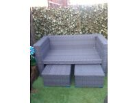 yakoe rattan double sofa with poufees