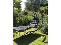 Black Helicoper garden swing chair with cushion