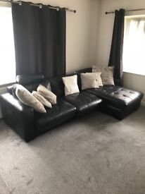 Black leather sofa for sale. Great condition