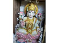 30 inch pure marble statue of Lakshmi is the Hindu goddess of wealth, fortune and prosperity.