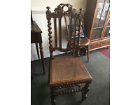 Nice-Looking Highly Carved Solid Oak Antique Hall / Side Chair with Barley Twist & Foilage Carvings