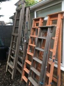 6 large wooden ladders
