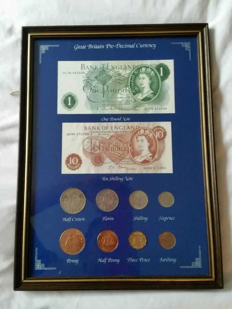 Framed set of British pre-decimal currency notes & coins Frame w ...