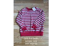 Girls 4-5 years jumper new with tags