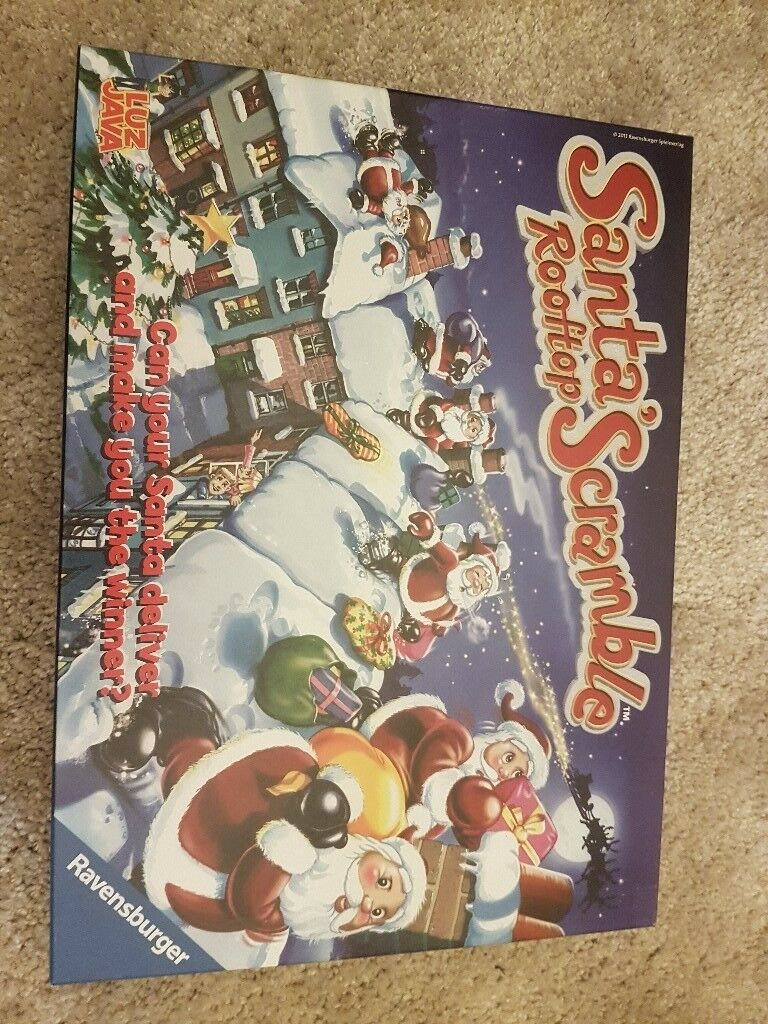 Santa rooftop scramble board game