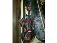 Artisan electric violin inside case