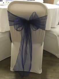 Navy Blue Organza Chair Sashes x 95 - Used