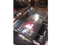 Large Glass and Iron Coffee Table with Book / Magasine Rack