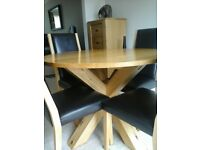 Wooden Dining Room Table, Chairs and Matching Drawers