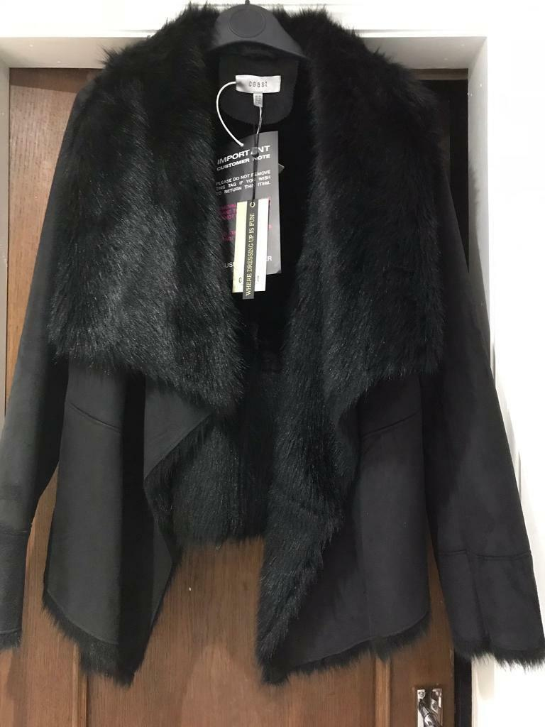21ec61369b4 Ladies faux sheepskin black jacket size 18