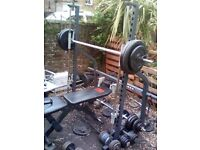 smith machine with adjustable weight bench