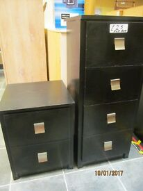 2 SMALL CHESTS OF BLACK ASH DRAWERS 4 DRAWER MEASURES 15 X 14 X 35 INCHES &2 DRAWER 15X14X19 INCHES
