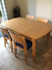 Dining table and 4 chairs - rectangular 90x150cm