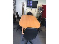Beech Board Room table and 6 black leather look chairs
