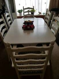 Shabby chic 6ft extends to 8ft table with 6 chairs