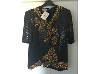 Frank Usher evening top. Heavily beaded. Size Medium. Never worn.