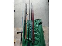 Selection of rods, bag and toolbox