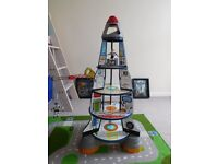 Large wooden rocket with accessories