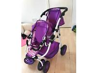 Kids doll double buggy pram