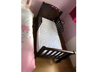 Kids hard wood bed frame with mattress for sale
