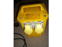 H P L Double 3.0 KVA Transformer for Site Power Tools 230v to 110 Volt Heavy Duty