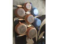 Le Creuset cast iron pans x 7