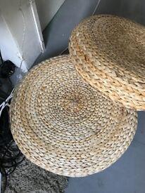 IKEA ALSEDA Woven Banana Fibre/Wicker Floor Stool/Cushion