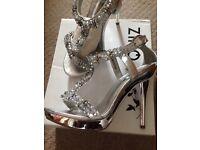 Silver jewled heels