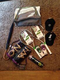 Wimbledon items Rackets, umbrella towels