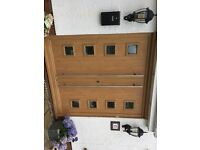 Irish oak double front door with frame stainless steel bars size 1815mm wide x 2025mm tall