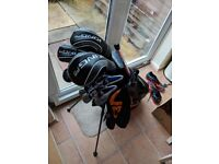 Full set of golf clubs with bag and extras