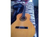 Herald classical 3/4 size full sounding adult guitar.including bag.
