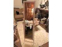 White, full length, free standing mirror
