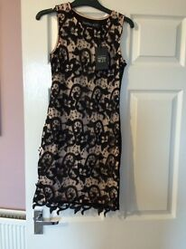 New boohoo cream & black dress with label size 8