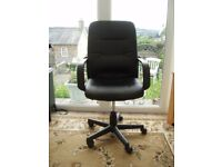 Black leather look, adjustable / swivel office chair for sale.