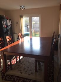 7 Foot Solid Wood Dining Room Table and 10 Chairs