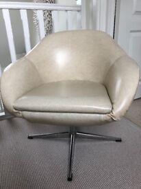 70s retail cream vinyl swivel cocktail chair