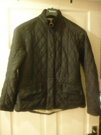 barbour quilted jacket in black,size 14