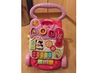 V Tech baby walker in pink - still with phone