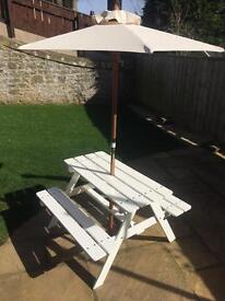 Kids picnic table with parasol