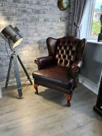 Vintage Leather Chesterfield Wingback Fireside Armchair Oxblood (Delivery Available)