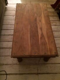 Big Vintage Coffee Table Solid Oak & Wrought Iron Raw Wood Ready For Wax/Stain Excellent condition