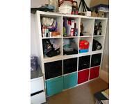 3 IKEA storage cube shelves including boxes