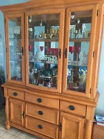 Solid oak sideboard/dresser with lights,mirrors and glass shelves
