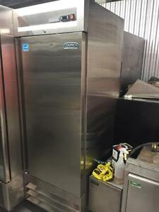 2 single door stainless fridges